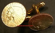 1911 American Gold Indian Head $2.5 Quarter Eagle Unique Coin Cufflinks + Box!