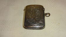 Antique Edwardian Sterling Silver Match Case Vesta -1908 - 5.3cm x 4.2cm - 32.8g