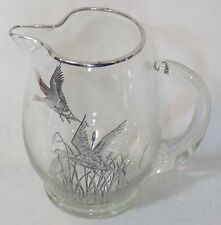 Vintage Silver Overlay Glass Cocktail Pitcher - Flying Ducks in Reeds