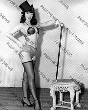 """Vintage 10"""" x 8"""" Photograph of Pin-up Burlesque Queen Bettie Page 1950s reprint"""