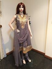 "36"" S Teenage Girls Salwar Kameez Indian Fancy Dress Kids Bollywood Grey Gold"