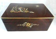 ANTIQUE FRENCH MAHOGANY DRESSING BOX WITH MOTHER OF PEARL INLAY MIRROR