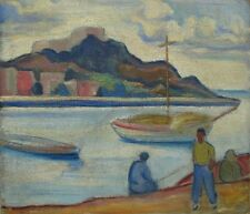 PIERRE De BELAY (1890-1947) FRENCH RIVES SAINT-TROPEZ ORIGINAL OIL PAINTING RARE