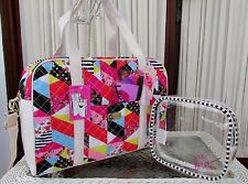 Luv Betsey Johnson Patchwork Weekender XL Travel Tote Bag Cosmetic Case NWT