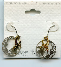 "Sterling Silver and Gold HUMMINGBIRD Earrings by Silver Moon3/4"" 4615h"