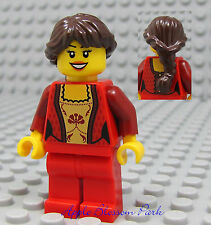 NEW Lego City FEMALE MINIFIG - Gold Torso & Red Legs w/Brown Hair Princess Girl