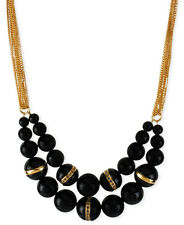 KENNETH COLE New York 'Urban Nero' Black Bead Gold-Tone Frontal Necklace $68