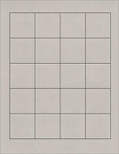 "6 SHEETS BLANK STICKERS 1.8 PRIM GRAY SQUARE120 LABELS~ Standard size 8-1/2""x11"""