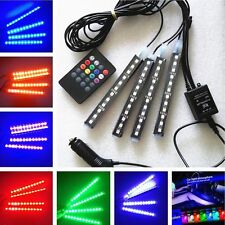 4x12LED Remote Control Colorful RGB Car Interior Floor Atmosphere Light Strip QW