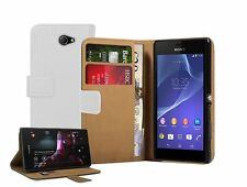 Wallet WHITE Flip Leather Case Cover Pouch for Sony Xperia M2 LTE D2303 experia