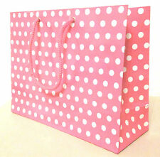 30 PINK WHITE POLKA DOT GIFT CARRIER LOOT PARTY BAGS H20 X L30 X W 10 CM,
