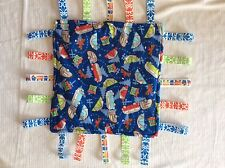 Baby Security Tag Blanket Buses Campers With Minky Ultrasoft fabric on back