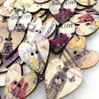 New 10/50/100/500pc Mix Heart Tower Wood Buttons Sewing Mix Lots 25*28mm W262