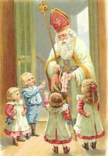 Antique Style Embossed German Post Card St Nicholas Santa Claus Father Christmas
