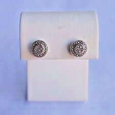 TRUE  MIRACLE 0.1 CT DIAMOND ROUND STERLING SILVER STUD EARRINGS.