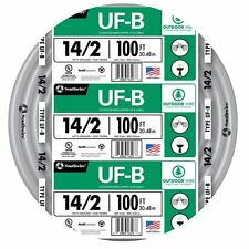 100' Roll 14-2 AWG UFB Gauge Outdoor Electrical Feeder Copper Wire Gray 15 Amp