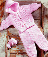 """Knitting Pattern- Aran winter jacket-pants & mitts for boy or girl- fits 18-26"""""""