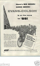 1955 PAPER AD Evans Colson Bicycle Bike Plymouth Michigan