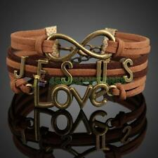 Vintage Multilayer Braid Bracelet Jesus Love Handmade Wristlet Chain Cuff Bangle