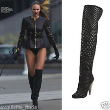 New TOM FORD Black Woven Suede/Leather Over-the-Knee Boot 38.5 - 8.5
