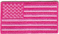 PINK AMERICAN FLAG -USA - BREAST CANCER AWARENESS -  PATRIOTIC - Iron On Patch