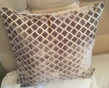 HOME DECOR MOROCCAN PATTERN MODERN CHENILLE DOVE GREY CUSHION COVERS 43 X 43 CMS