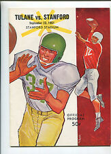 Stanford vs  Tulane   College Football Program Sept 23,1961   MBX66