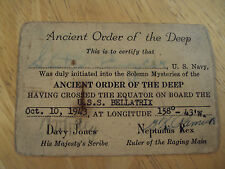 "WWII 1943 Official Certificate U.S. Navy~""ORDER OF THE DEEP""~Equator~BELLATRIX"