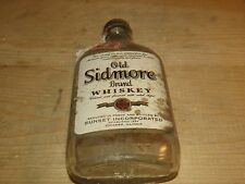 Vintage 1930s Glass Embossed Half Pint Whiskey Bottle Old Sidmore ILL Tax Stamp