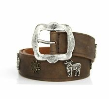 Topfor Germany Leather Pewter Buckle Cow Sun Belt Edelweiss Chalet Euro 90