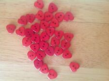 50 or 100 Heart Buttons Baby/Children's 12 x 11 mm Red Blue Purple Cyan Yellow
