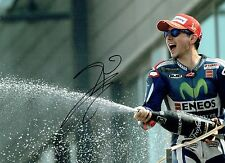 Jorge LORENZO SIGNED 16x12 Autograph Podium Photo AFTAL MOTOGP Movistar Yamaha