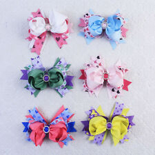 Wholesale 6pcs 4inch Chistmas Bow Boutique Hair Bows Clip For Baby Girl 2821-A