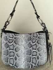 NWT Claudia Italy Italian black pebble leather python hobo bag purse grey tote