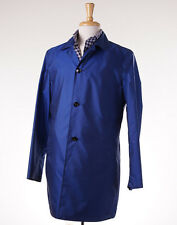 NWT $3950 KITON Packable Lightweight Blue Silk Trench Coat 50/40 (M) Jacket