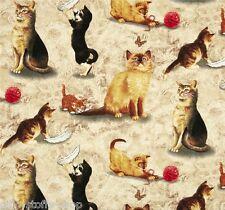 Natural Cats Patchworkstoff Stoffe Katzen Patchwork Baumwollstoffe Tiermotive
