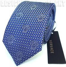 VERSACE royal Blue with Silver MEDUSA heads silk Twill MENS tie NWT Authentic!