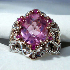 Kunzite Quartz Sterling/Palladium Ring with 18K Rose Gold Vermeil Size 7