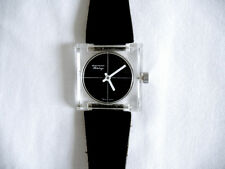"Vintage Lucite Skeleton Wind-Up Watch (Plexi) Patent Leather ""American Heritage"""