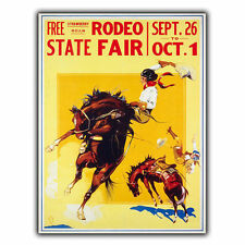 AMERICAN RODEO STATE FAIR METAL SIGN WALL PLAQUE Vintage Retro Travel Advert