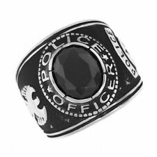 POLICE OFFICER BLACK STONE SILVER SS RING SIZE 7 8 9 10 11 12 13 14
