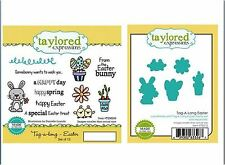 Taylored Expressions Rubber Cling Stamp + DIE Set TAG-A-LONG EASTER ~TEMS88/515