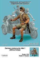 Tahk Tank 1:35 German Motorcycle Rider Afrika Korps Resin Figure Kit #T35131