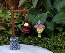 Miniature Dollhouse FAIRY GARDEN ~ GLOW in the DARK Hanging Lamp Post and Pick