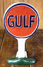 CAST IRON DOORSTOP GULF GASOLINE OIL LOOKS LIKE TALL GAS STATION ROUND DISC SIGN