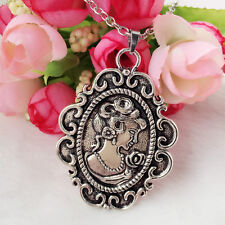 1pcs Fashion Retro Beauty Head Goddess Cameo Charm Alloy Lady Necklace