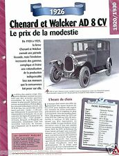 Chenard et Walker AD 8 cv  4 Cyl. 1927 France Car Auto Retro FICHE FRANCE