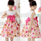 Chic Girls Kids Princess Wedding Party Pink Flower Bow Gown Full Dresses 2-7Year