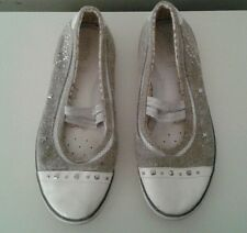 Geox Kids Boutique Canvas Grey Leather Studded Mary Jane Shoes Sz 3 1/2
