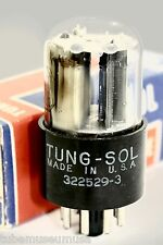 6SN7GT NOS TUNG-SOL V-PLATES USA TUBE 1950s with AMPLITREX PROOF L@@K! 123/115%!